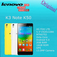 Wholesale Lenovo K3 Note K50 G FDD LTE Original inch x1080 MTK6752 Octa Core Cell Phone Android GB RAM GB ROM GPS MP Camera