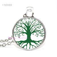 custom design jewelry - Tree Charms Necklaces Tree of Life Cabochon Birthstone Pendants Necklace kid child girls Women Men jewelry Alloy Unisex Gift Custom Design