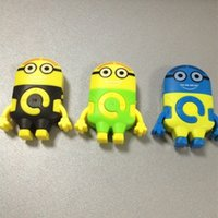 Wholesale Cute Despicable Me Minion style MP3 player USB Earphone Crystal Box Mini Rechargeable MP3 W TF card Slot