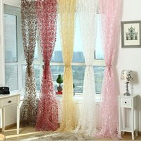 drapes curtains - Romantic Window Panel Drape Curtains Curtain Door Room Divider Sheer Voile Free DropShipping
