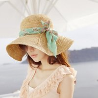folding straw hat - 2015 New Vogue Womens Beach Cap Sun Hat Wide Large Brim Folding Floppy Hat Straw Hat