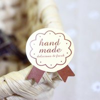bakery labels stickers - quot Hand Made quot round bakery adhesive seals stickers labels hand made DIY tags for cookie cake stickers gift packaging decoration
