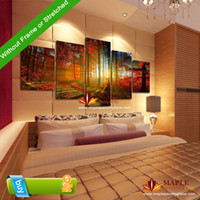 canvas prints wall painting - 5 Panel Forest Painting Canvas Wall Art Picture Home Decoration for Living Room Canvas Print Modern Painting Canvas Art Cheap
