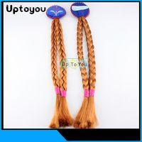 Cheap Frozen plait Elsa Anna princess wig braid headdress girl children's gift children's hair Accessories For Party Cosplay