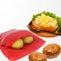 Wholesale NEW Red Washable Cooker Bag Baked Potato Microwave Cooking Potato Quick Fast cooks potatoes at once