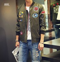 aviator jacket for men - Fall Bomber Jacket Men Army Green Jackets Mens Stand Collar Patched Badges Aviator Cotton jacket For Men