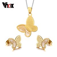 Wholesale Fashion Women Gold Plated Jewelry Sets for Wedding Party Stainless Steel Shell Butterfly Jewelry Sets for Women Vnox S Christmas party g