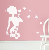 animal decal wallstickers - 2 Colors DIY Flower Fairy Wallstickers Removable Art Vinyl Wall Sticker Decal For Room Home Decoration