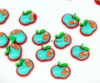 Cheap 250pcs Green apple charms 20mm resin cabochons flat back decoden kawaii kitsch crafts -decorating items, scrap booking,