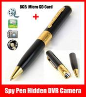 Precio de Micro cámara espía oculto-Caliente Mini bolígrafo espía ocultado HD DVR videocámara de la cámara de vídeo del registrador 1280x960 Cam + 8 GB Micro SD de envío gratuito