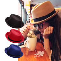 Wholesale Newest Vintage Women Winter Fedoras Caps Cute Trendy Wool Felt Bowler Derby Fedora Cap Jazz Hat Bucket Hats
