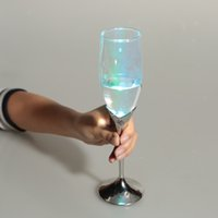 Wholesale Multicolor LED Goblet Light Up Champagne Glass Tulip Shaped Glowing Pressure Sensing Light Wine Drinkware Party Use new L0932