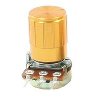 Wholesale FS Hot K ohm Pin mm Split Shaft Rotary Linear Taper Potentiometers w Knob Gold order lt no track