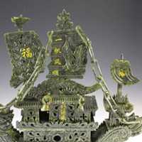 oriental statues - Chinese antique collection Oriental Vintage Handwork Carved Jade Dragon Boat Statue