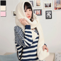 Wholesale Wholesales Women Scarf Hooded Gloves Pocket Earflap Hat Long Multifunctional Scarves Solid Color Shawl Wraps Plush Scarf YG0043 Smileseller