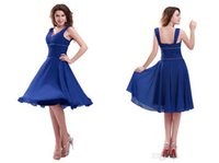 Reference Images V-Neck Chiffon Royal Blue Knee Length Prom Dresses 2014 Deep v Neck with Ruched Bodice Bridesmaid Party Dress Gown