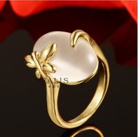 Wholesale European and American style gold opal ring green ring holder jewelry R630
