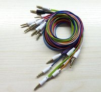 Wholesale 3 mm AUX Audio Cables male to male Stereo Flat Noodle Jack Cable ft Cord Lead colorful for MP3 Adapter Speaker phone Iphone Samsung HTC