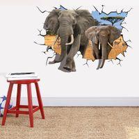 african room designs - Elephant Break Through Wall Creative Decal Stickers Removable Kids Nursery Decor Art African Animal X CM Home Decor