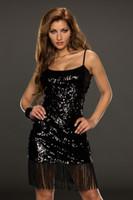 Wholesale Women s s Sequin Tassel Fringe Flapper Costume Dress Party Black Latin Belly Dance Ballroom Clubbing Wear Fringe Mini Dress