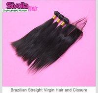 Cheap Cheap Stock Silk Base Brazilian Virgin Straight Hair Bundles, 4pcs lot DHL Free Shipping 1Pc 4x4 lace closure with 3 Bundles Weaves