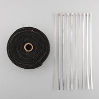 Wholesale New hot Heat Exhaust Thermo Turbo Wrap Tape quot X m Fireproof Cloth Roll Black C car insulation with black