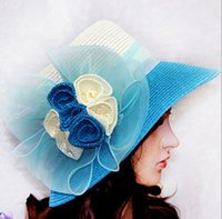 ladies church hats - Ladies Colorful Organza roses hat Kentucky Derby Wedding Church Party Floral sun summer Hat