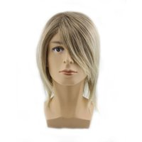 average man - men wigs cheap synthetic wigs short hair wigs for men black gold streaked straight natural wigs Mix Length Handsome
