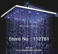 Cheap With 3 Color(Green Blue Red) And Brass Shower Arm! 12 Inch, Square Chrome Overhead LED Rainfall Top Shower Head (D003-2A)
