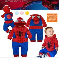 Wholesale 100 cotton cute baby wear spiderman baby kids rompers jumpsuit Spiderman baby romper baby clothes jumpsuit LJJD1159
