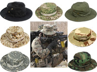 Wholesale Men s Boonie Hiking Snap Brim Army Military Neck Cover Flap Bucket Sun Hat Cap