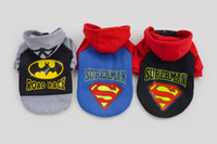 batman apparel - New Dog Apparel Pets Supplies Autumn Winter Fashion Cute Cartoon Batman Superman Turned Outfit Dog Outwear MC