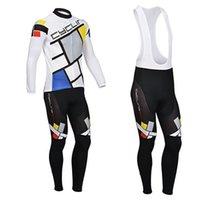 Wholesale 2014 Set Winter Long Sleeve Cycling Jersey Jacket Bib Pants Bicycle Bike thermal Fleece Grid Size S XXXL