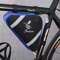 Wholesale 2016 New Waterproof Outdoor Sports Cycling Front Bag Mountain Bicycle Bike Bag Front Frame Triangle Bag Blue Orange