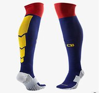 Wholesale Hot sale Fast Delivery Spain Club Barcelona home blue Football Socks With Towel Material soccer socks Away Yellow Football