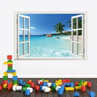 Wholesale 2015 D Window Ocean View for Wall Stickers Fake Window Removable Art Sticker Vinyl Decal Home Decor