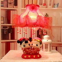 Wholesale Sweet sweet red lamp resin wedding doll wedding room decoration festive new home decorative items Lamps