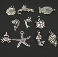 achat en gros de carapaces de crabe de gros-Mer 60PCS gros animal Argent Antique Starfish poissons de crabe à carapace de tortue sirène Pendentifs Charms Trouver