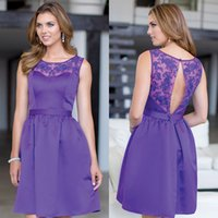 Cheap Custom Made Lace Scoop Short Bridesmaid Dresses Purple Stretch Satin A Line Simple Formal Party Gown for Wedding 2015 Groups Cheap Under 150