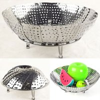 Wholesale Hot Folding Stainless Mesh Food Dish Vegetable Egg Poacher Steamer Basket Cooker