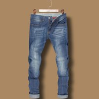 men color jeans - FG1509 Italy Famous Brand Mens Jeans Fashion Designer Blue Color Printed Jeans For Men Ripped Jeans Large Size High Quality