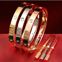 Wholesale New screws never lose style silver k rose gold L stainless steel forever lovers screw bangle bracelet with screwdriver
