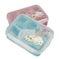 Wholesale Hot Sales Cute Microwave Oven Bento Box Student Lunch Box with Soup Bowl Spoon Food Container Dinnerware JH0010 Kevinstyle