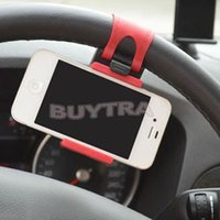 Wholesale 2014 Universal Car Steering Wheel Holder Bracket For iPhone5s Samsung Galaxy S4 S3 Mobile Phone Car Stand Stent