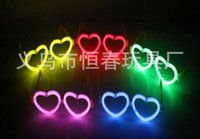 Wholesale 10pcs carnival festival holiday supplies party decoration funny fluorescence heart shaped glasses valentine s