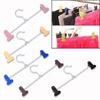 aluminum clad steel - 5pcs Stainless Steel Two Clips Kilt Pant Trousers Hangers Retail Clothes Store EQ5965