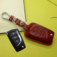 Wholesale genuine leather Car key cover key holder case for Toyota Corolla rav4 crown reiz camry flip key holder case keychain accessories