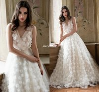 beautiful flower garden images - Beautiful Spring Wedding Dresses Handmade Flowers Illusion V Neck Sleeveless Floor Length Daalarna Summer Garden Bridal Wedding Gowns