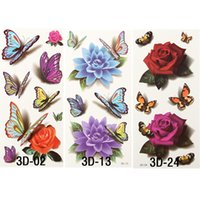 Wholesale 6 d Butterfly Tattoos Small Rose Waterproof Body Tattoo Temporary Stickers Henna For Body Armas Pistola Bolsa Feminina