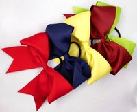 Chemical Fiber cheer bow holder - 30pcs quot Large Cheer Bow With Elastic Band Cheerleading Hair Bow Cheer Bow Ponytail Hair Holder For Girls